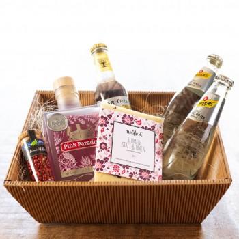 Geschenkkorb Pink Paradise - Schokolade nach Wahl